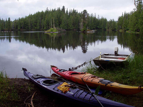 Kayaks at Sarkar Lake-Honger Divide Canoe Trail