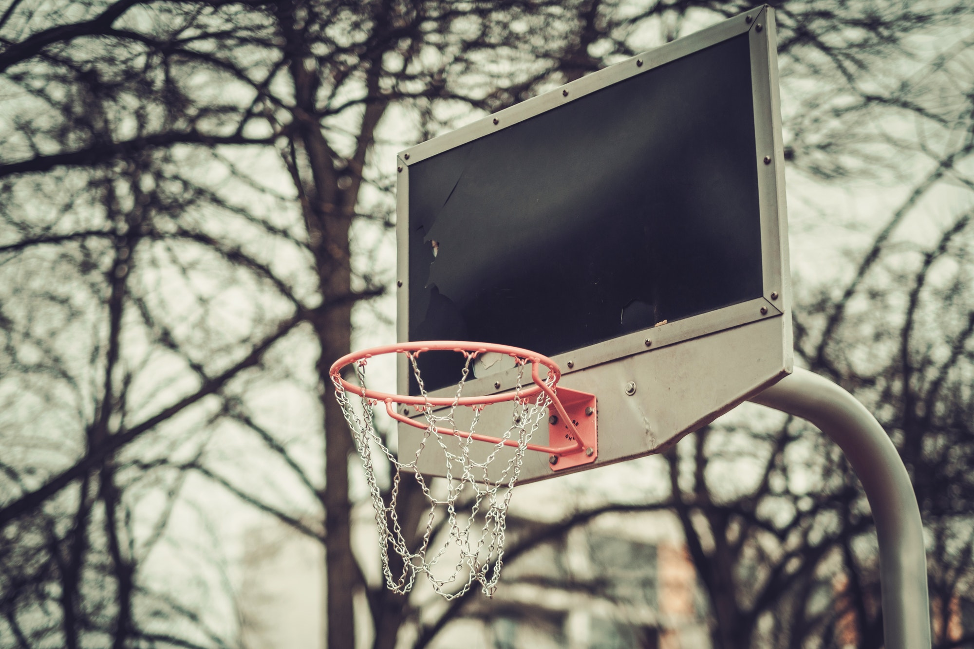 Basketball shiled outdoors