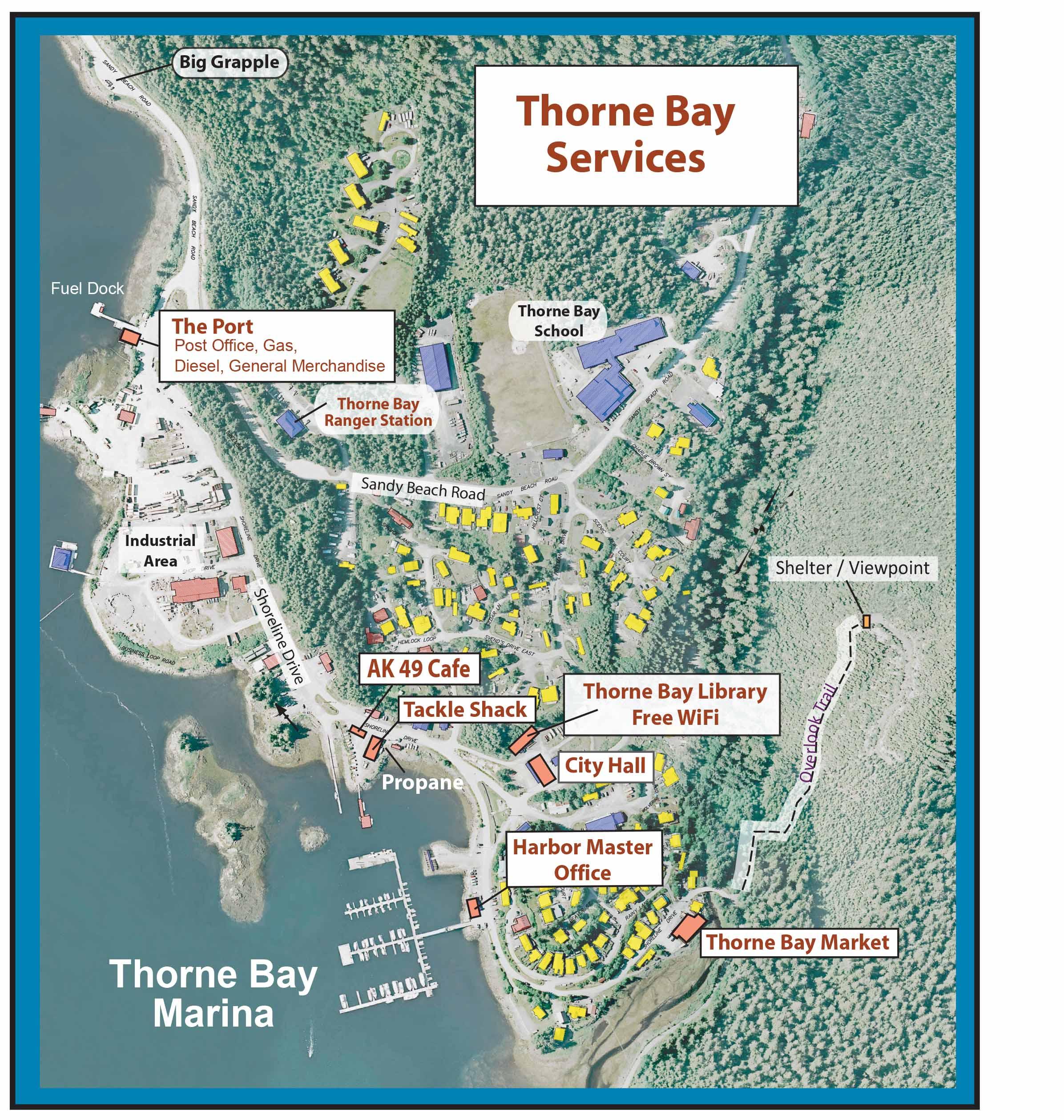 thorne bay alaska map Thorne Bay Services Map City Of Thorne Bay