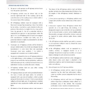 ATV Operation Regulations for Thorne Bay