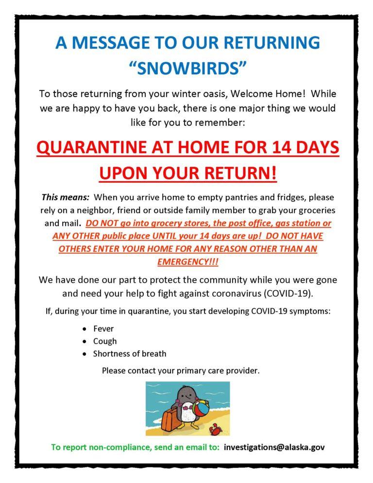 A MESSAGE TO RETURNING SNOWBIRDS