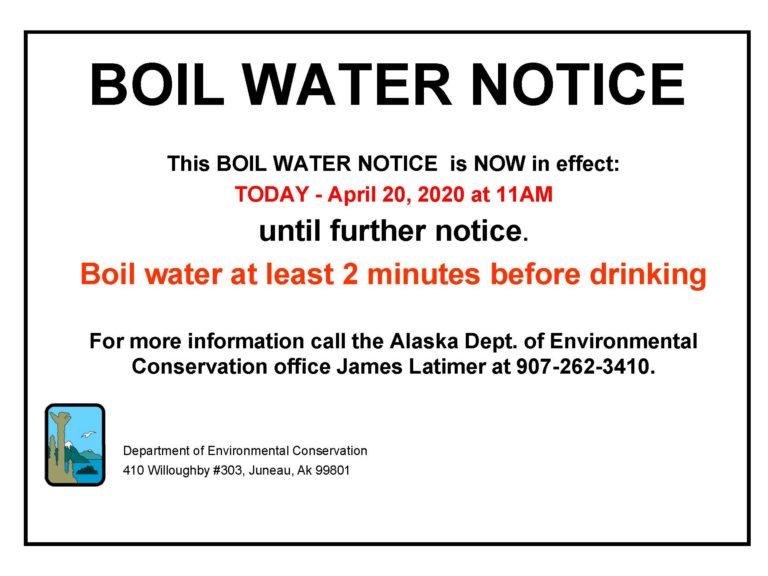 BOIL WATER NOTICE APRIL 20, 2020-UNTIL FURTHER NOTICE