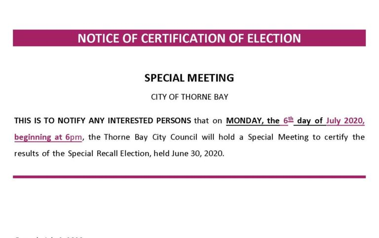 NOTICE OF SPECIAL MEETING JULY 6 @ 6:00 p.m.