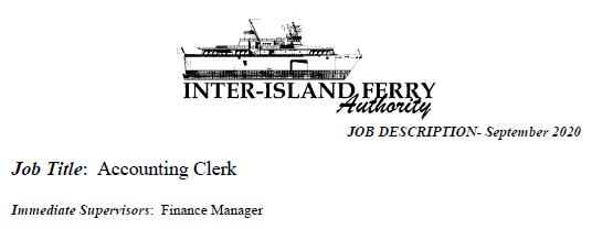 JOB OPENING-INTER ISLAND FERRY AUTHORITY